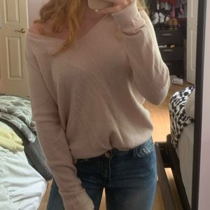 cute off the shoulder pink sweater